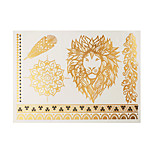 1pc Flash Metallic Tattoo Gold Lion Head Flower Lace Chain Temporary Tattoo Sticker GH-21