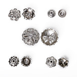 Beadia 170Pcs Mixed 5 Style & Size Antique Silver Alloy Beads Cap Metal Flower Shape Spacer Beads