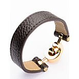 High Quality Titaninum Steel Double Circles Crossing Wide Band Leather Bangle