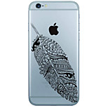 Feather Pattern  Transparent TPU Material Phone Case for iPhone 6 6S  6 Plus 6S Plus
