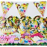 luxo princesa festa de aniversário 78pcs decorações miúdos evnent fontes do partido decoração do partido 6 pessoas usam
