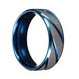 Men Rings Blue Silver Brushed Section Titanium Steel Finger Ring Men Jewelry bague homme