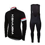 KEIYUEM® Cycling Jersey with Bib Tights Unisex Long Sleeve BikeBreathable / Quick Dry / Dust Proof / Wearable /