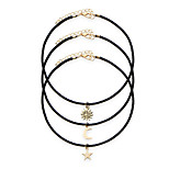3 Pcs/Set Black Rope Chain Chokers Necklaces With Star Alloy Pendants Maxi Necklaces Women Fashion Statement Jewelry
