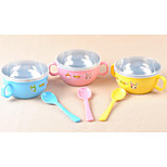 Children's stainless steel bowl Baby insulation against the hot dishes The belt cover with the handle cartoon tableware