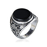 Men's Fashion Alloy Ring Vintage Personality Carving Gem Statement Rings Casual/Daily 1pc