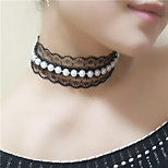 Necklace Choker Necklaces / Pearl Necklace Jewelry Wedding / Party / Daily Fashion Pearl / Imitation Pearl Black / White 1pc Gift