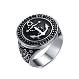 Men's Fashion Individual Novel  Ship's Anchor Stainless Steel High Polised Band Rings(1Pc)