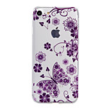 TPU Material Purple Butterfly Pattern Stained Phone Case for iPhone 7Plus 7 6sPlus 6 Plus 6s 6 SE 5s 5