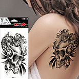 5Pcs Body Art Beauty Makeup  Sexy Dangerous Black  Rose Skull Tattoo Waterproof Temporary Tattoo Stickers
