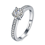 2016 Simple Luxury Hearts And Arrows Wedding 18KGP Platinum Zircon Engagement Ring For Women