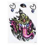 1pc Purple Elephant God Skull Necklace Jewelry Eyes Henna Pattern Temporary Women Men Body Art Tattoo Sticker HB-267