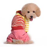 Dog Clothes/Jumpsuit Dog Clothes Winter Spring/Fall Stripe Casual/Daily Red Blue