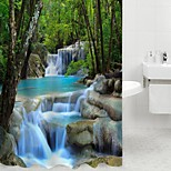3D Waterfall Scenery Waterproof Shower Curtain Bathroom Products Bath Curtain Cortina De Bano With 12 Hooks
