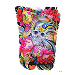 1pc Waterproof Temporary for Women Men Body Art Tattoo Skull Bone Fish Carp Flower Tattoo Pattern Sticker HB-284