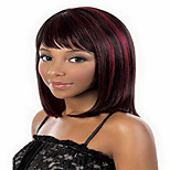 Red Black Short Hair Female High Temperature Wire Straight Hair Wigs