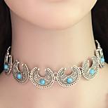 Women Hot Boho Collar Choker Silver Necklace Fashion Vintage Ethnic Style Bohemia Turquoise Beads Neck 1pc