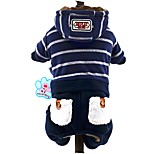 Striped Hooded Coat Velvet Navy Blue Grey Four-Legged Cotton-Padded Clothes for Pet Dog Jumpsuits Dog Clothes