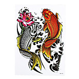 1pc Water Transfer Body Waist Art Temporary Tattoo Sticker Women Men Fish Lotus Carp Waterproof Tattoo HB-343