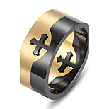 316L Stainless Steel Separate Gold Black Ring Double Cross Finger Ring Men Jewelry