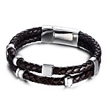 Men's Fashion Leisure Personality High-Quality Alloy Magnetic Snap Two Cirles Leather Wrap Bracelets(1Pc)(Brown)