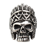 Men's Fashion Punk 316L Titanium Steel Vintage Personality Skull Engraved Agate Statement Rings Casual/Daily Accessory