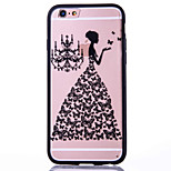 Girl Pattern Embossed Printing Transparent Hollow Acrylic Material TPU Phone Case for iPhone  6S 6plus SE 5S