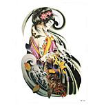 1pc Women Men's Fake Fish Carp Beauty Geisha Girl Flower Pattern Temporary Body Art Tattoo Sticker HB-266