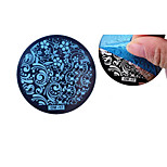 Nail Art Plate Stamp Stamping Set Round Stainless Steel DIY Nail Polish Print Manicure Nail Stencil Template Tool