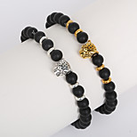 Beadia 1Pc 8mm Black Glass Bead Strand Bracelet Buddha Leopard Bracelet