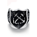 Men Jewelry Punk Stainless Steel Ring Bague Homme Vintage Shield Anchors Ring Titanium steel