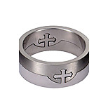 Unisex Ring 316L Stainless Steel Separate Silver Cross Finger Ring Men Jewelry Gift idea