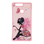 Girl Pattern Metal Plate Inlay TPU Back Case For Huawei P9 P9 Plus  P9 Lite
