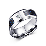 Men's Fashion Blue and Black Cubic Zirconia Carbon Fiber Material Stainless Steel High Polished  Band Rings(1Pc)