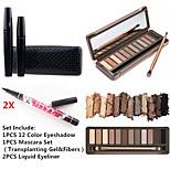 12 Colors Eyeshadow  Waterproof Eye Lash Mascara Set&2X Waterproof Liquid Eyeliner