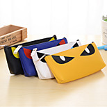 Evil Cat Eyes Pattern PU Laether Pen Bag Random Color