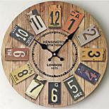 Moderno/Contemporâneo / Casual Família Relógio de parede,Redonda Metal 35*35*5 Interior/Exterior / Interior / Ao ar Livre Relógio