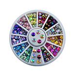 4mm Colorful Sharp Crystal Nail Rhinestone Wheel Shiny Glitter Nail Art Tips Decoration Tools