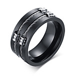 Men's Fashion Personality 316L Titanium Steel Black Ring Polishing Band Rings Casual/Daily Accessory 1pc