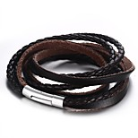 Men's Fashion Leisure Personality High Polished Stainless Steel Three Cirles Leather Wrap Bracelets(1Pc)(Brown)