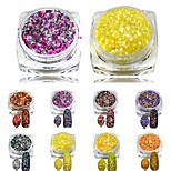 1 Bottle Holographic Glitter Cheese Powder Nail Art Mixed Colors DIY Nail Pigment Nail Art Decorations Dust SN17-24