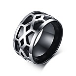 Men's Fashion Personality Stainless Steel  IP Black Plating High Polished  Band Rings(1Pc)
