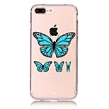 Blue Butterfly Pattern Material Acrylic  TPU Phone Case For iPhone 7 7Plus 6S 6Plus SE 5S 5