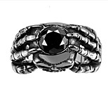Vintage Punk 361L Steel Skull Head Claw Ring Black Stones Ring Men Jewelry