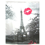 Fashion Red Lip Eiffel Tower Pattern Shower Curtain Bathroom Waterproof Fabric
