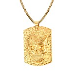 Men's Fashion Novel Simple Golden Skull Stainless Steel Gold Plated Pendant Necklaces(1pc)