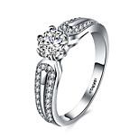 2016 Luxury Noble Classic Banquet Wedding 18KGP Zircon Engagement Ring For Women