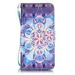 Flower Pattern Perspective Shiny Glare Material PU Leather Card Holder for  iPhone 7 7 Plus 6s 6 Plus SE 5s 5