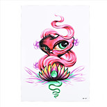 1pc Women Men Waterproof Temporary Tattoo Sticker Pink Lotus Eye Design Body Art Beauty Makeup Tattoo HB-307