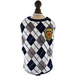 English Diamond Lattice Printed Flannel Red Yellow Grey Vest For Pet Dog Cool Clothes